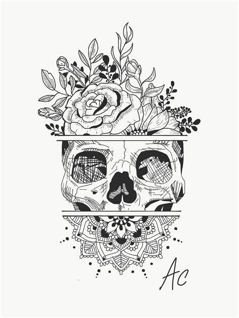 skull flowers tattoo designs creating idea skull flowers mandala