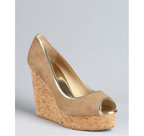 jimmy choo tan suede meringue platform peep toe pumps in jimmy choo caramel and gold suede peep toe papina cork