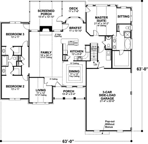 up down duplex floor plans southern style house plan 3 beds 2 50 baths 2071 sq ft