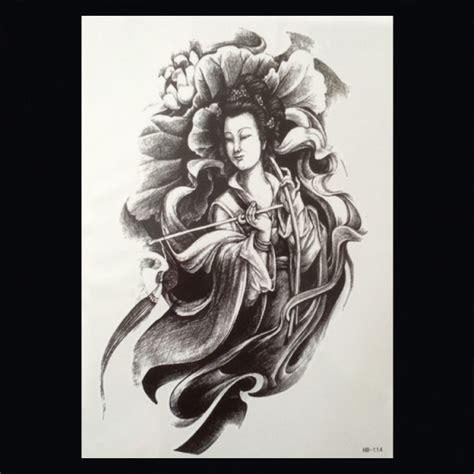 geisha tattoo vrouw xl tattoos vrouwfiguren zwart wit faketattoo nl