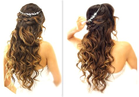 easy wedding half updo hairstyle with curls bridal hairstyles for medium hair