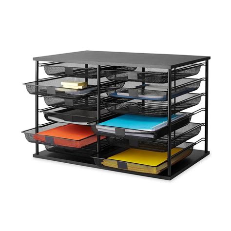 desk organizer tray desk organizer mesh drawer letter file tray 12 compartment