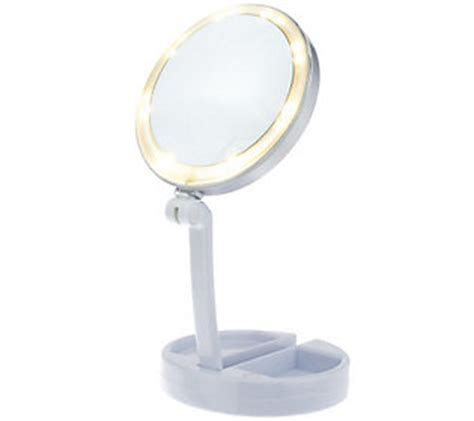 Travel Lighted Makeup Mirror by Floxite 10x 1x Lighted Folding Vanity Travel Mirror