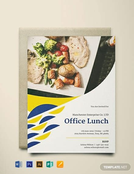 office lunch invitation template word psd