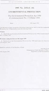 environmental protection act 1990 section 33 the environmental protection act 1990 commencement no 17