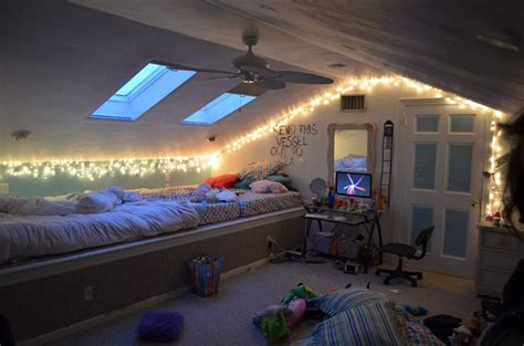 Attic Bedroom Lighting Ideas Attic Bedroom With Fairylights Bedroom Lights