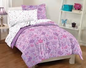 Purple princess crowns bedding little girls twin or full comforter set