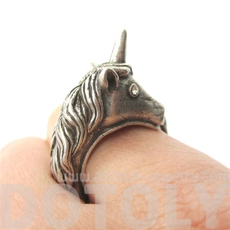 Tortle Adjustable Animal Size S Adjustable Unicorn Animal Wrap Around Ring In Silver