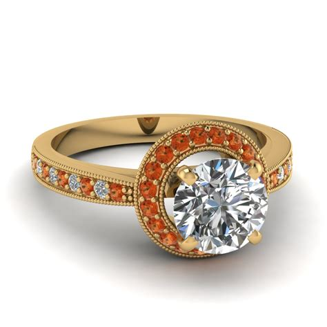 Cut Engagement Rings Gold Jewelry by Cut Engagement Ring With Orange Sapphire In