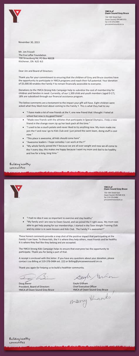 Ymca Fundraising Letter Letter From Ymca Of Owen Sound Grey Bruce Leflar Foundation