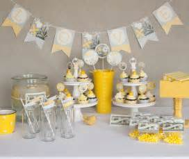 bridal shower decorations printable yellow gray