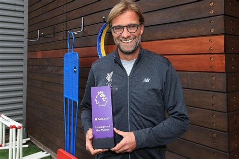 epl coach of the month klopp voted barclays manager of the month