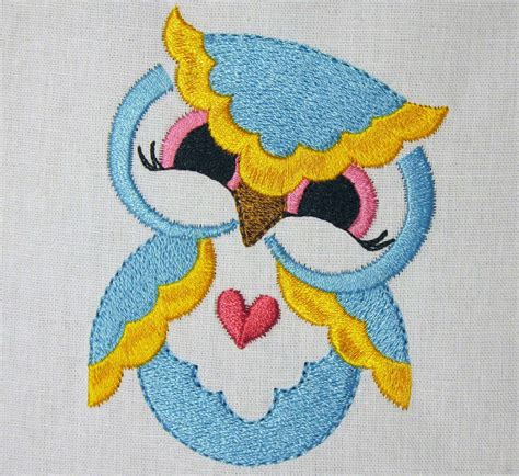 Handmade Embroidery Designs - owl machine embroidery design blue filled embroidery