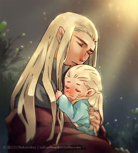 orlando bloom elvish in lotr thranduil and baby legolas by nekomiko the lord of the