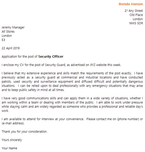 sample security guard cover letter police cover letter examples