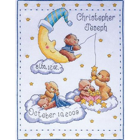 Birth Record 11 Quot X 14 Quot Birth Record Counted Cross Stitch Kit Bears In Clouds 6489739 Hsn