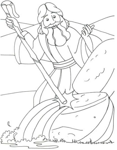 bible coloring page water from the rock striking the rock 11 moses water from the rock