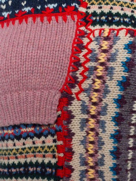 Knitting Patchwork - mcqueen dip hem wool patchwork sweater