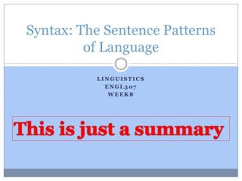 sentence pattern english grammar ppt ppt syntax the sentence patterns of language powerpoint