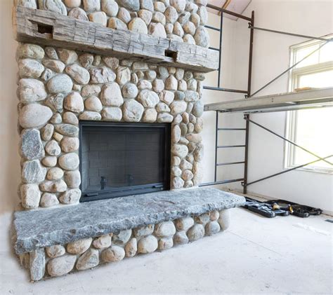 River Rock Stone Fireplace   Fireplace Designs