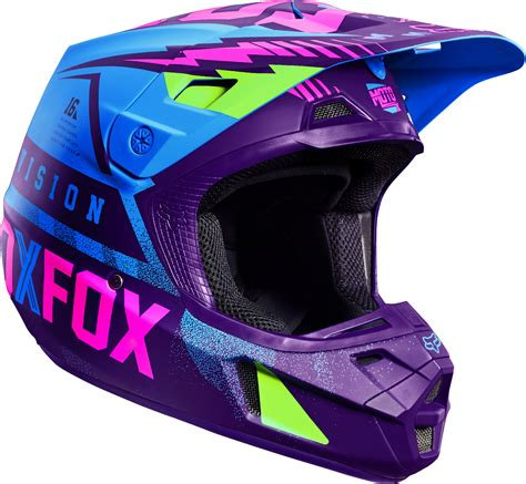 purple motocross helmet fox racing blue green purple pink v2 vicious se dirt