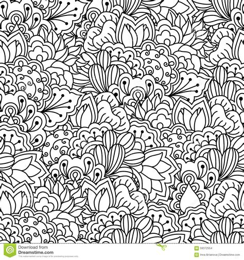 seamless black  white background floral ethnic hand
