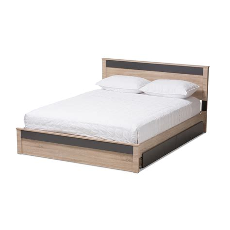 modern queen bed baxton studio jamie modern and contemporary two tone oak