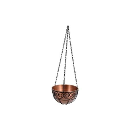 14 in x 8 in antique copper round metal hanging planter
