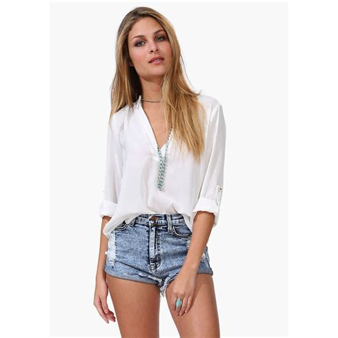 Top Blouse womens sleeve casual v neck blouse tops t shirt ebay