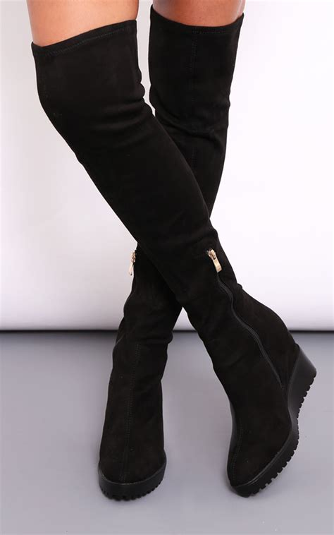 knee high suede boots heel jody knee high black suede wedge heel boots silkfred