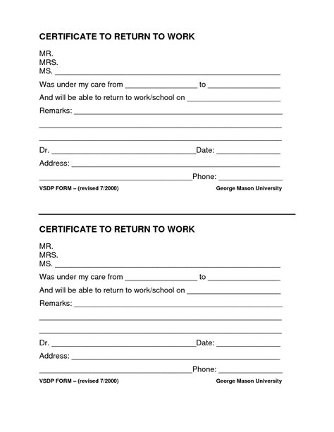 return to work notice template search results for return to work form template