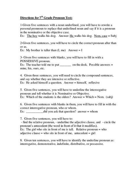 Free Grammar Worksheets 7th Grade by 7th Grade Worksheets Printable Directions For