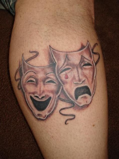 comedy and tragedy tattoo theater mask tattoos and piercings