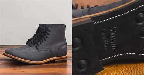 oak bootmakers matte black dainite trench boot