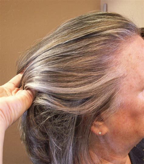 photographs of grey hair with highlights lowlights and highlights added to grey hair hair by janet