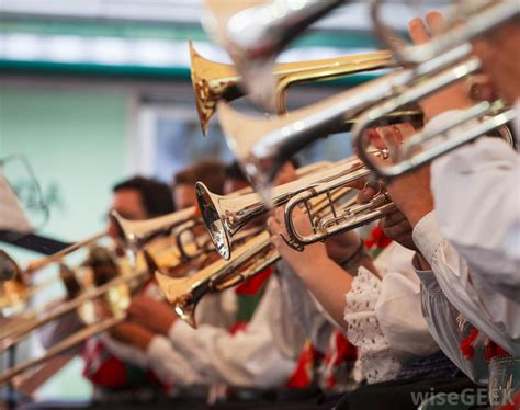 wind section instruments what are the different types of brass band music