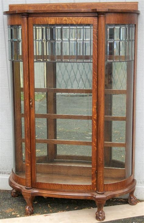 Glass Door China Cabinet Larkin Oak China Cabinet With Leaded Glass Door And Sides Ebay