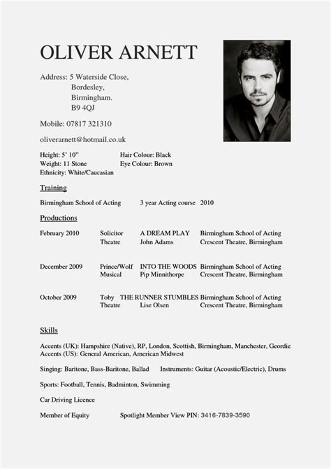 acting cover letter for beginners sample acting resume acting resume