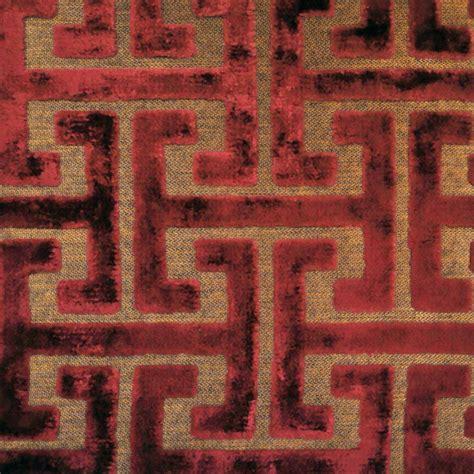Upholstery Fabric Sles Shang Dynasty Crimson Geometric Design Cut