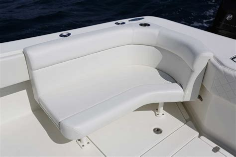 folding down boat seat with cup holder center consoles luxury edition seavee boats