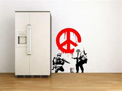 banksy graffiti cnd peace sign soldiers art wall