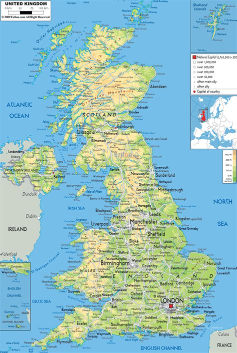 uk map physical map of united kingdom ezilon maps