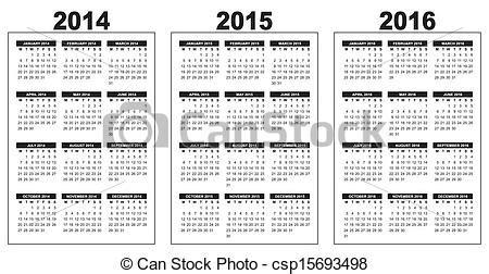 Calendrier Canadien 2014 Vecteurs Eps De Calendrier 2014 2015 2016 Illustration