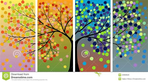 libro tree seasons come seasons four season tree decoration stock vector illustration of season flower 20808629