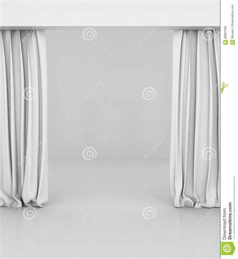 weisser vorhang leerer wei 223 er vorhang oder drapiert auf wei 223 grauem