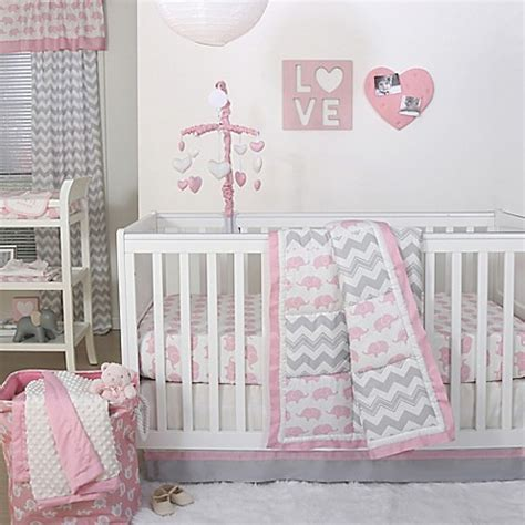 Pink Elephant Bedding For Cribs The Peanut Shell 174 Elephant Crib Bedding Collection In Pink Grey Buybuy Baby