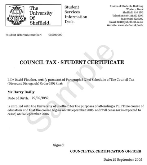 Council Tax Complaint Letter Template Exle Of Certificate Council Tax Ssid The Of Sheffield