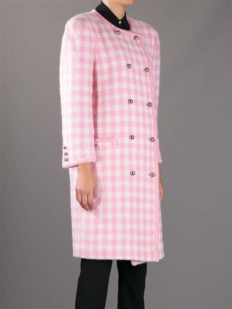 Jaket Houndstooth Pink 2 Pockets Apl Pita courreges houndstooth coat in pink lyst