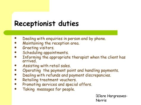 qualities and duties of a receptionist