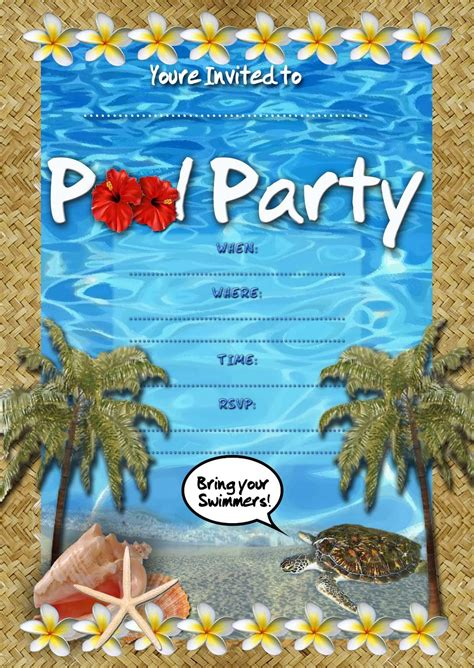 free kids party invitations pool party invitation